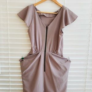 Topshop Taupe Dress with Zipper detail